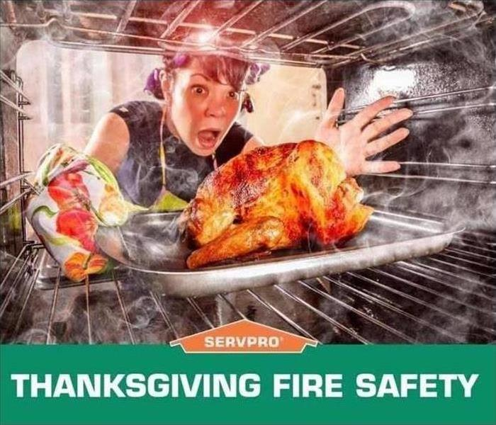 Thanksgiving fire prevention. Image of burning turkey.